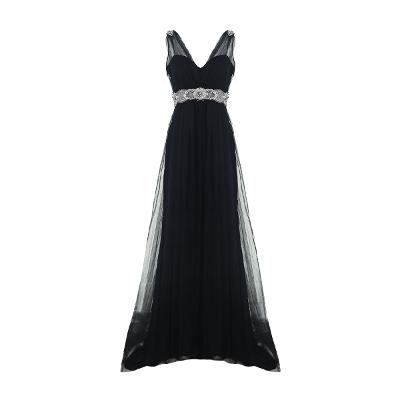 beads point v-neck dress black